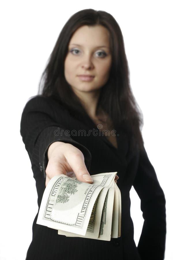 pengar för affärskvinna 2 royaltyfria bilder