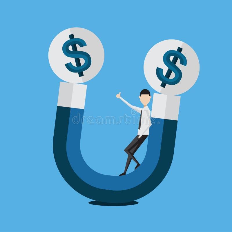Pengar för affärsmanframgångfinans, affär som handlar marknadsföra begreppsvektorn royaltyfri illustrationer
