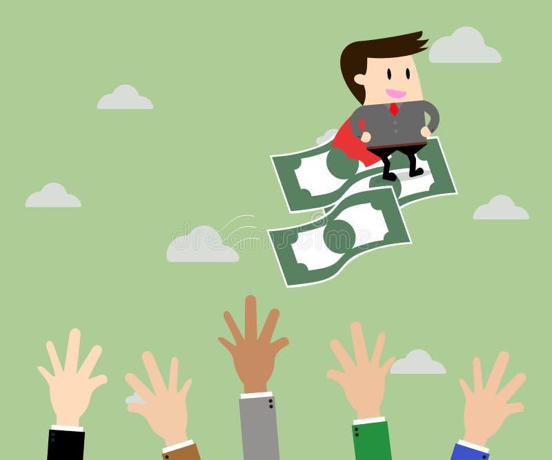 Pengar för affärsmanridningflyg och affärskonkurrens stock illustrationer