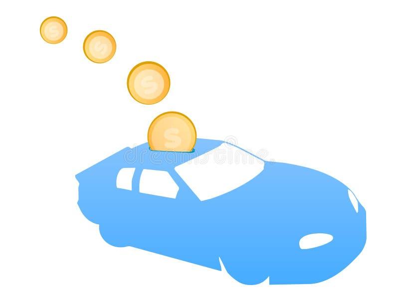 pengar för bilindustri sparar till stock illustrationer