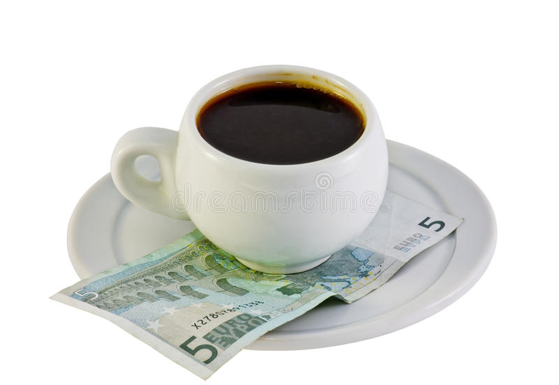 pengar för euro för kaffekopp royaltyfria foton