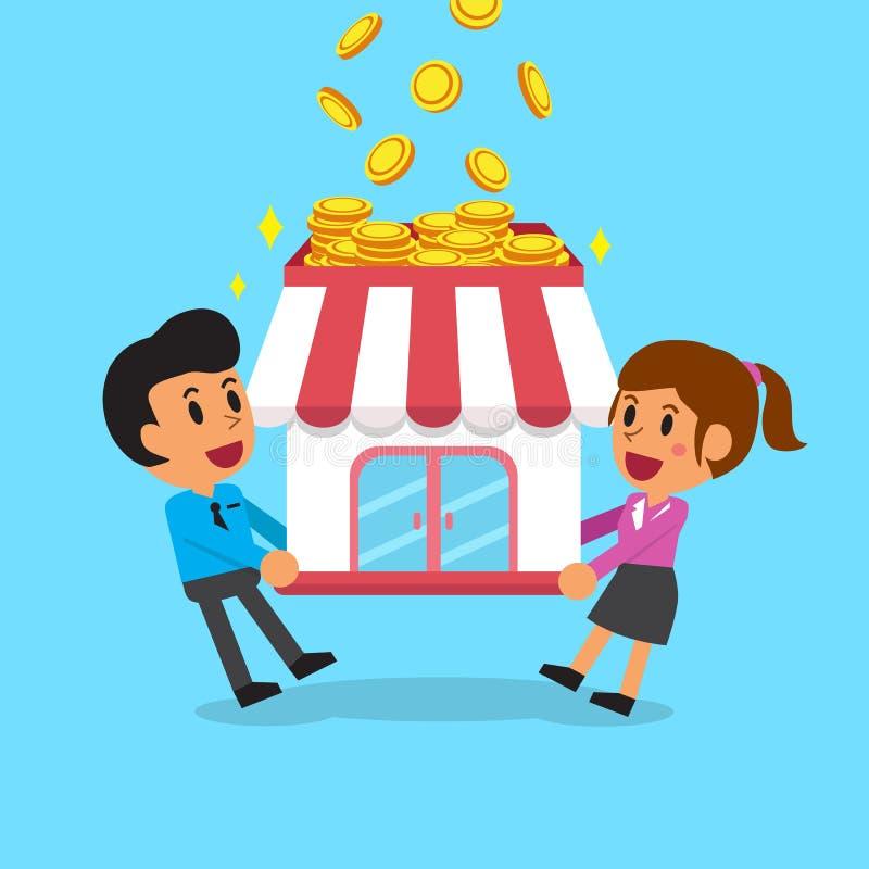 Pengar för förtjänst för tecknad filmaffärslag med deras affär stock illustrationer