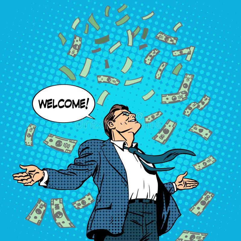 Pengar för flyg för affärsidéframgångaffärsman stock illustrationer