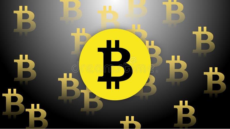 Pengar för guling för Bitcoin vektorsvart royaltyfria foton