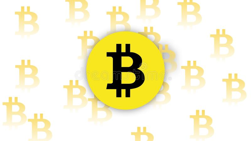 Pengar för guling för Bitcoin vektorvit royaltyfria bilder