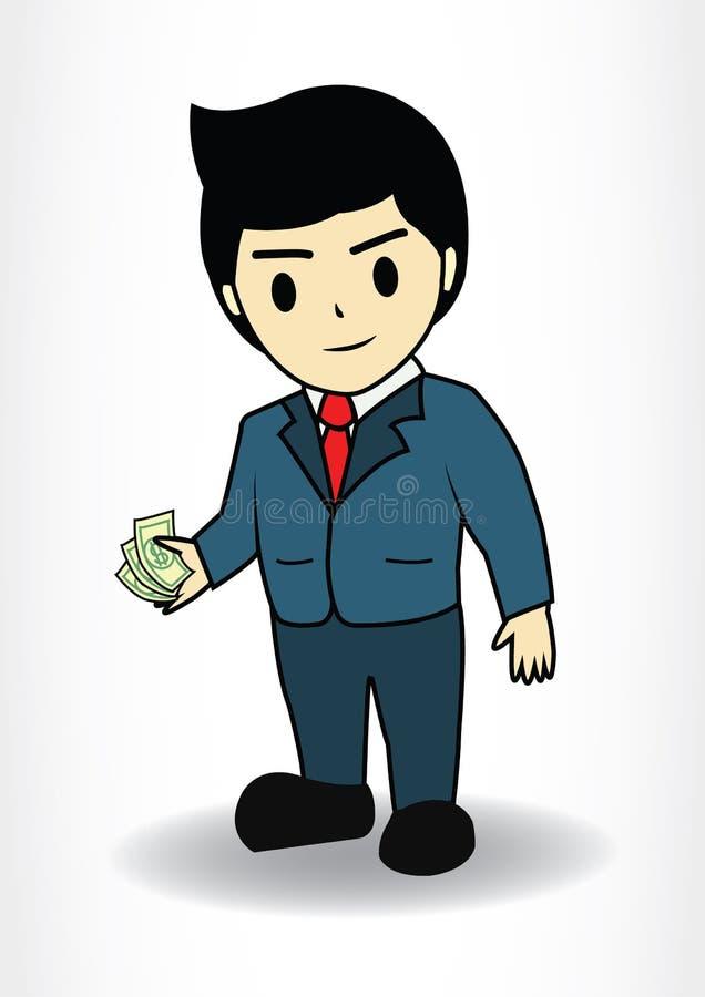 Pengar för håll för affärsman royaltyfri illustrationer