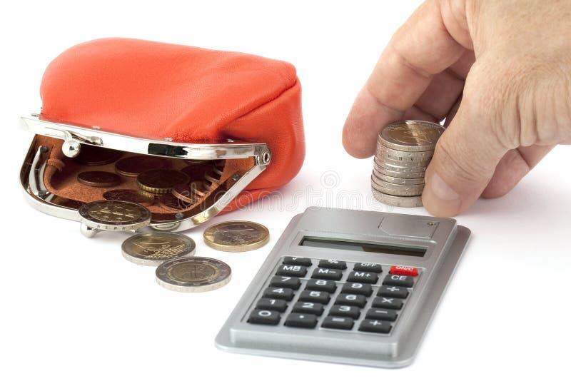 pengar för mynträkningseuro arkivfoto