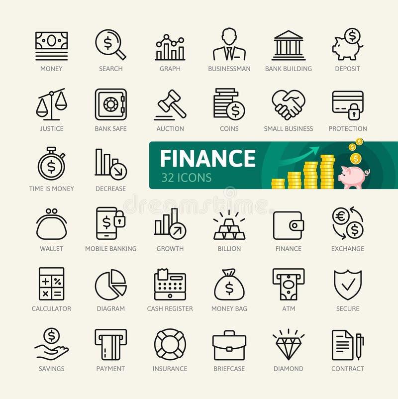 Pengar finans, betalningbeståndsdelar - minsta tunn linje rengöringsduksymbolsuppsättning Översiktssymbolssamling vektor illustrationer