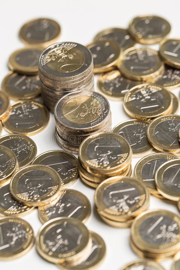 Pengar finanser coins euro arkivbild