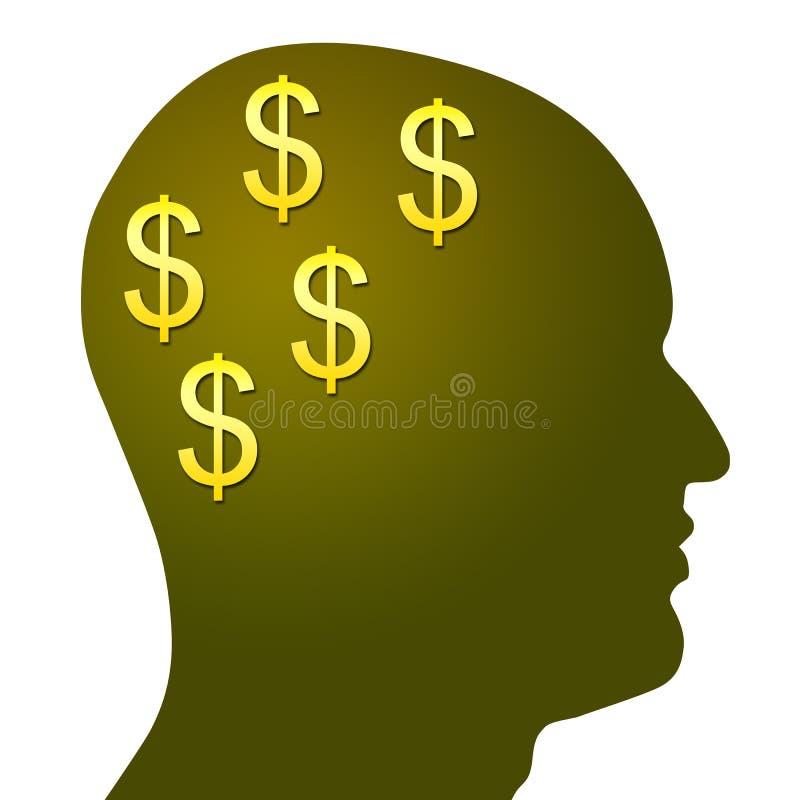 Pengar i åtanke vektor illustrationer
