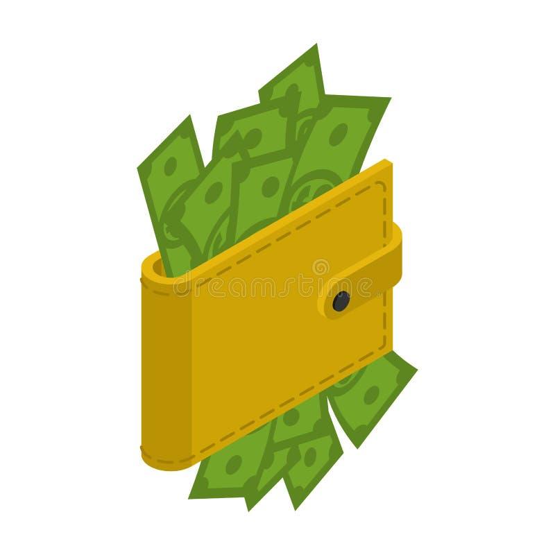 Pengar i din plånbok Kontant in handväska Dollar i din påse fina stock illustrationer