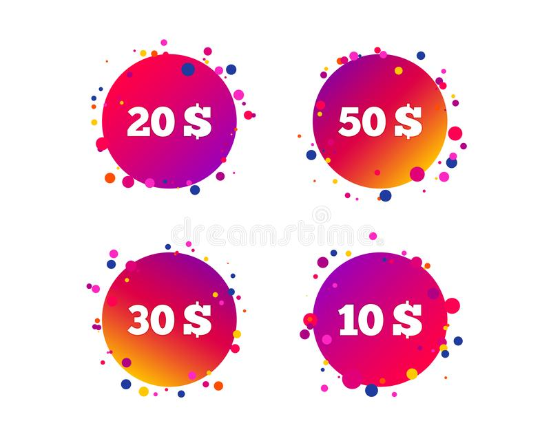 Pengar i dollarsymboler Tio tjugo, femtio USD vektor stock illustrationer