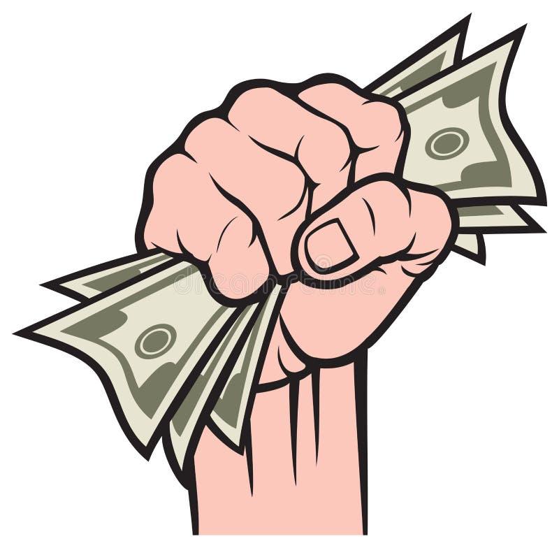 Pengar i handen stock illustrationer