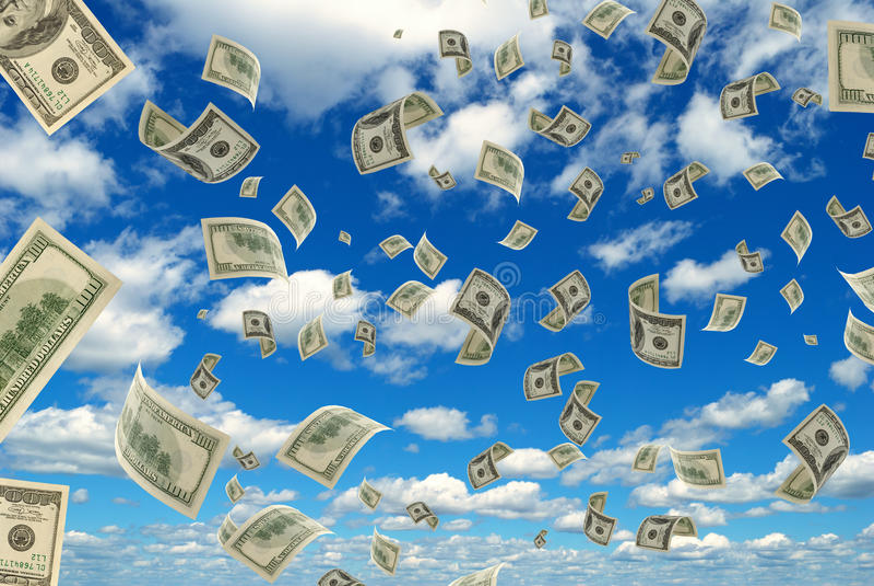 Pengar i himlen. arkivfoton