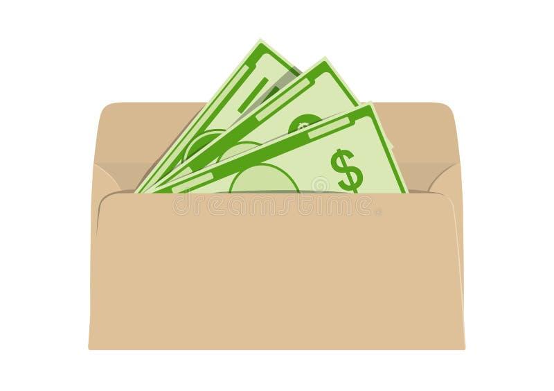 Pengar i kuvert Förtjäna och skugga inkomst också vektor för coreldrawillustration royaltyfri illustrationer