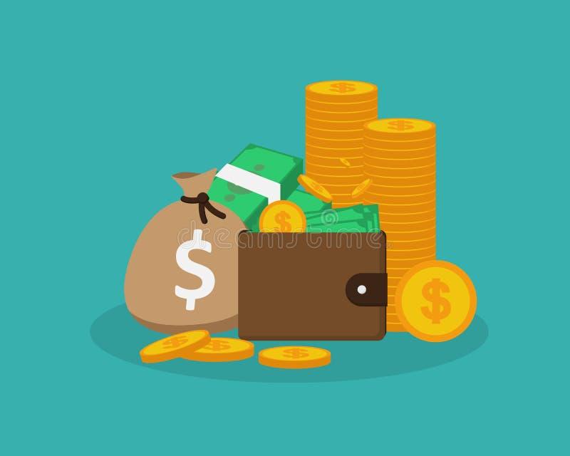 Pengar myntar fickpengarpåsen stock illustrationer