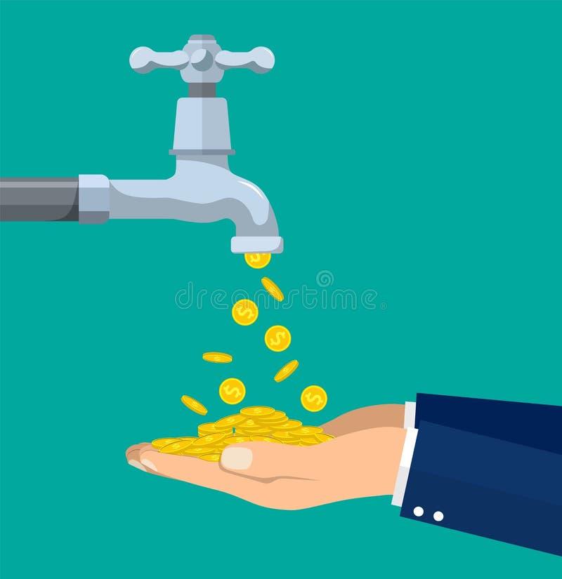 Pengar myntar flöden till handen från klappet royaltyfri illustrationer