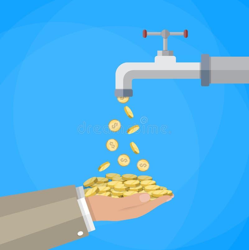 Pengar myntar flöden till handen från klappet stock illustrationer