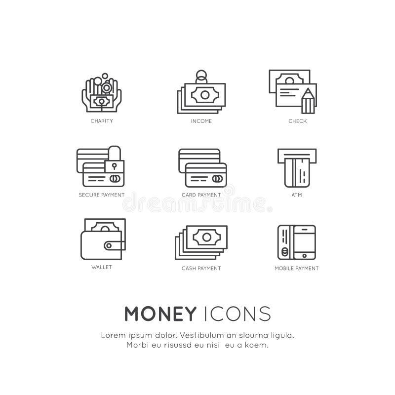 Pengar och affär, inkomst, besparingar och intäkt, välgörenhet, donation, säker betalning, online-tjänst stock illustrationer