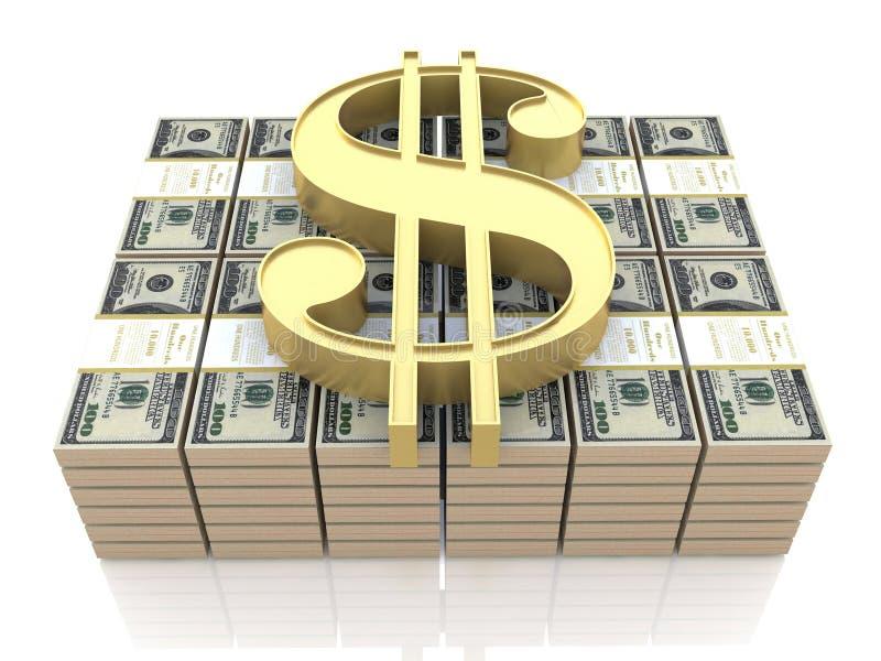 Pengar och dollaren undertecknar stock illustrationer