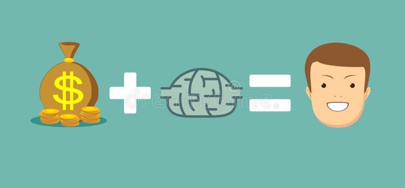 Pengar och hjärnor gör dig lycklig royaltyfri illustrationer