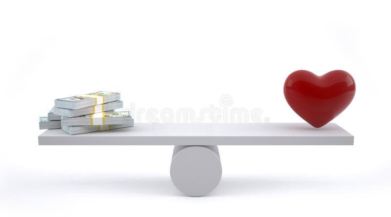 Pengar och hjärta på en jämviktsskala royaltyfri illustrationer