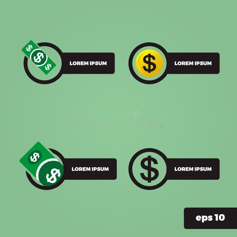 Pengar och orientering för finanslogodesign royaltyfri illustrationer
