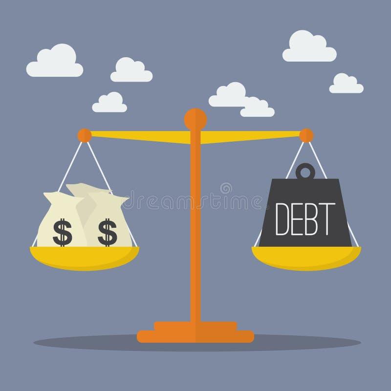 Pengar- och skuldjämvikt på skalan stock illustrationer