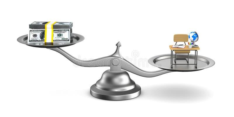 Pengar och utbildning på våg Isolerad illustration 3d vektor illustrationer