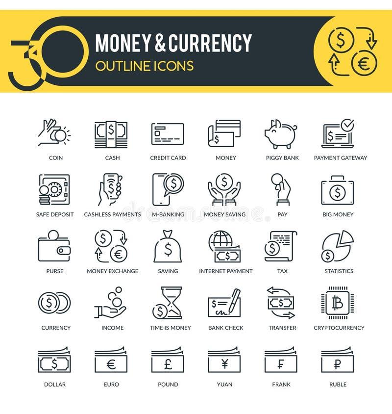 Pengar- och valutaöversiktssymboler royaltyfri illustrationer