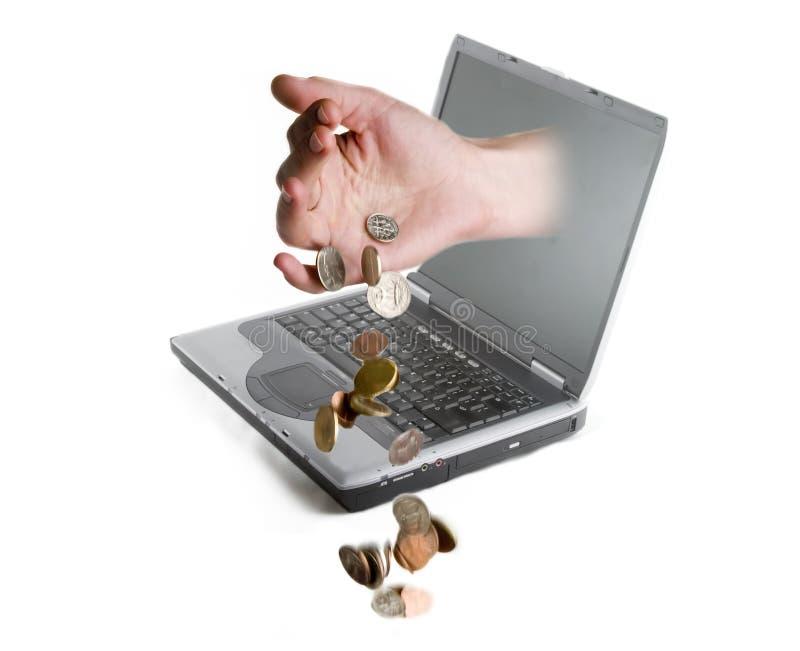 pengar online arkivfoto