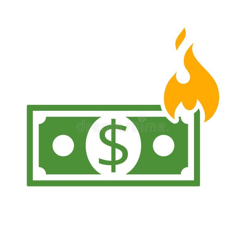 Pengar på brandsymbolen, tecken, logo vektor illustrationer