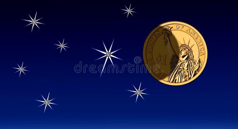 Pengar på himmel, ljusstyrka & skugga US dollar stock illustrationer