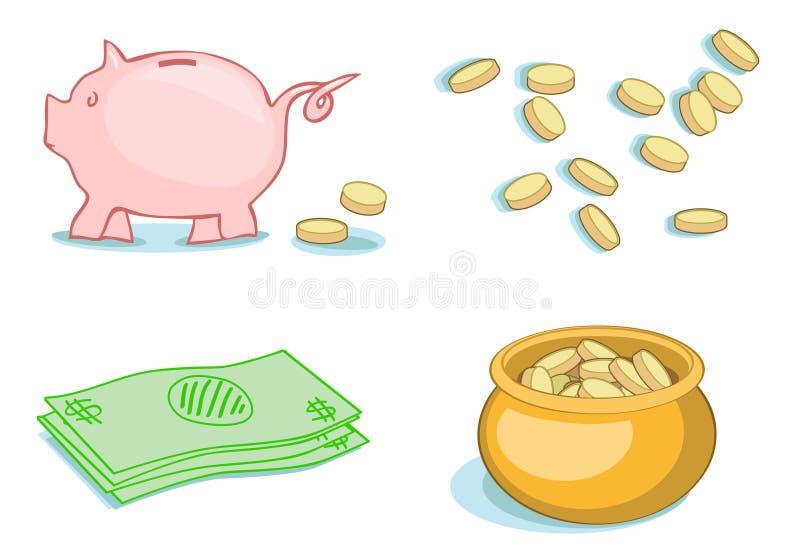 Pengar pengar, pengar stock illustrationer