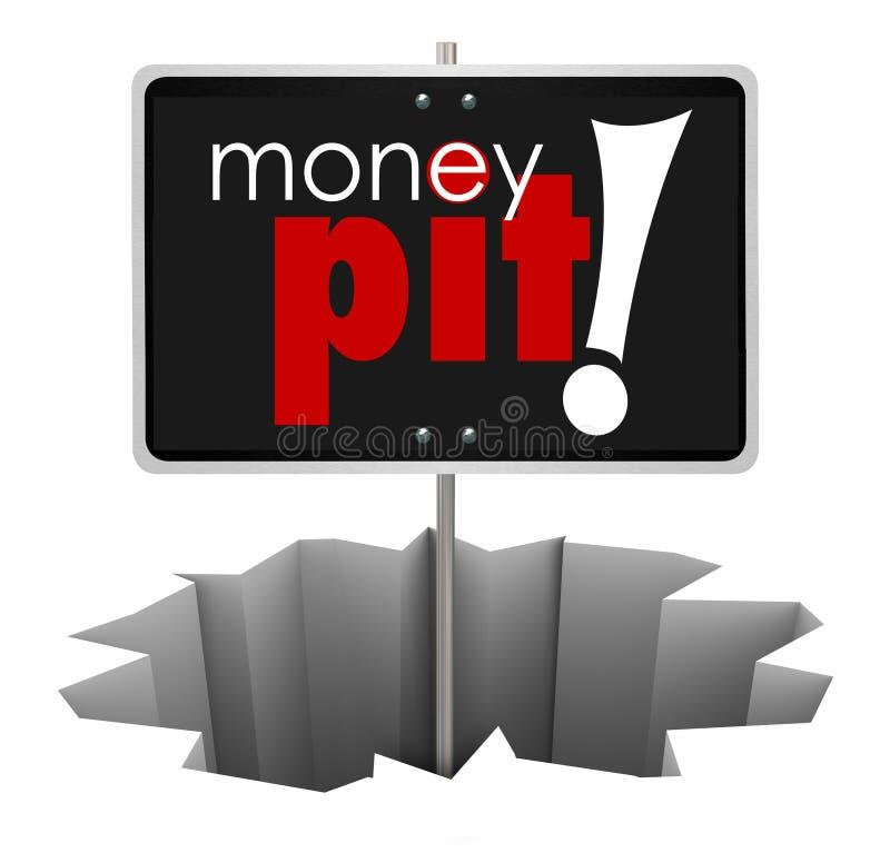 Pengar Pit Sign i investering för slösaktig utgifter för hål dålig royaltyfri illustrationer