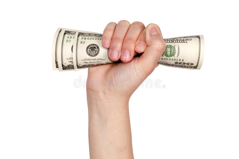 Pengar räcker in royaltyfria foton