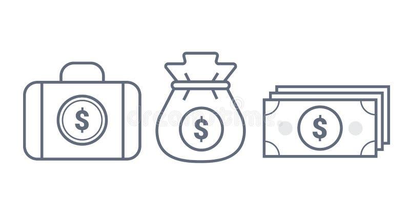 Pengar-, resväska- och påselinje symbol Mall f?r illustration f?r vektordiagram bakgrund isolerad white royaltyfri illustrationer