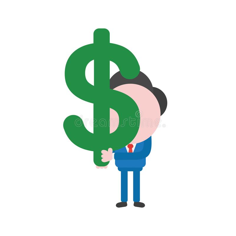 Pengar s för dollar för tecken för vektorillustrationaffärsman hållande vektor illustrationer