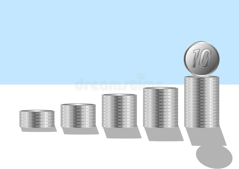 Pengar som är finansiella, affärstillväxtbegrepp, mynt som ska staplas royaltyfri illustrationer