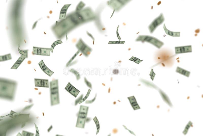 Pengar som ner regnar och faller bakgrund isolerad white framförd illustration 3d stock illustrationer