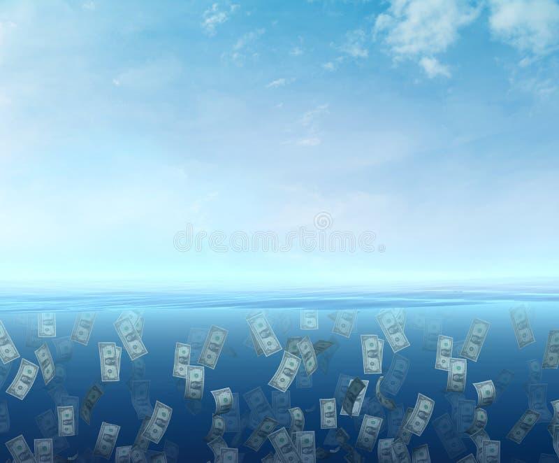 Pengar som svävar i havet vektor illustrationer
