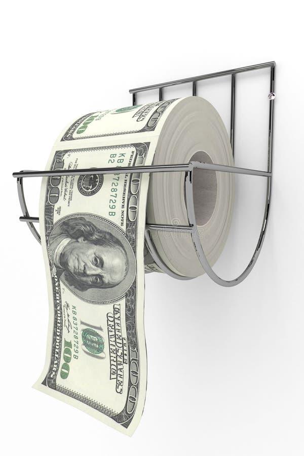 Pengar som toalettpapper vektor illustrationer