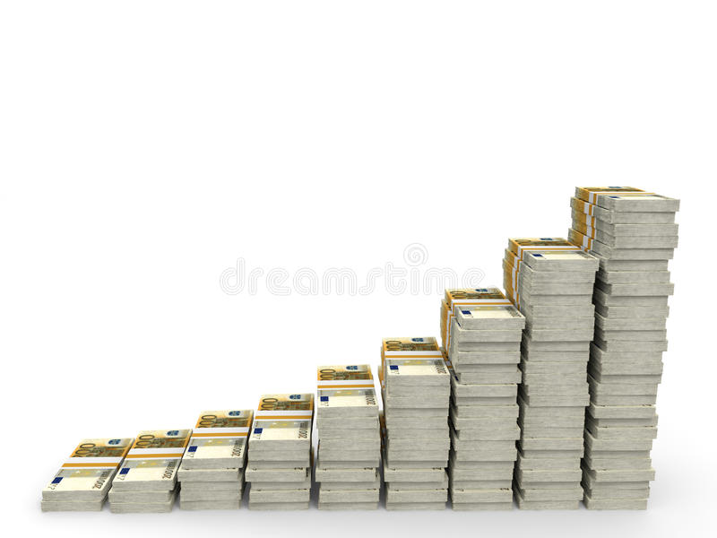 Pengar staplar grafen stock illustrationer
