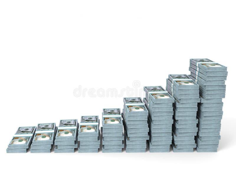 Pengar staplar grafen Nya hundra dollar stock illustrationer