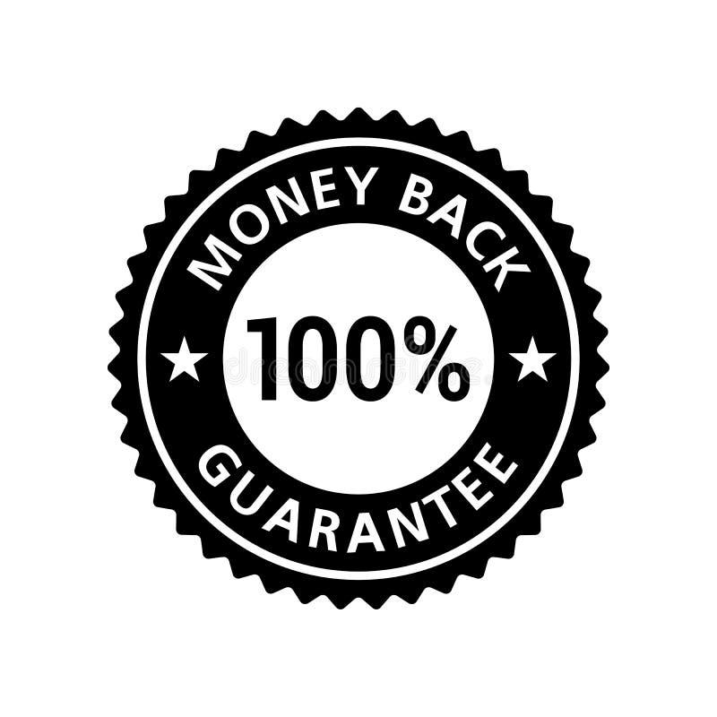 Pengar tillbaka garanterar klistermärken 100% stock illustrationer