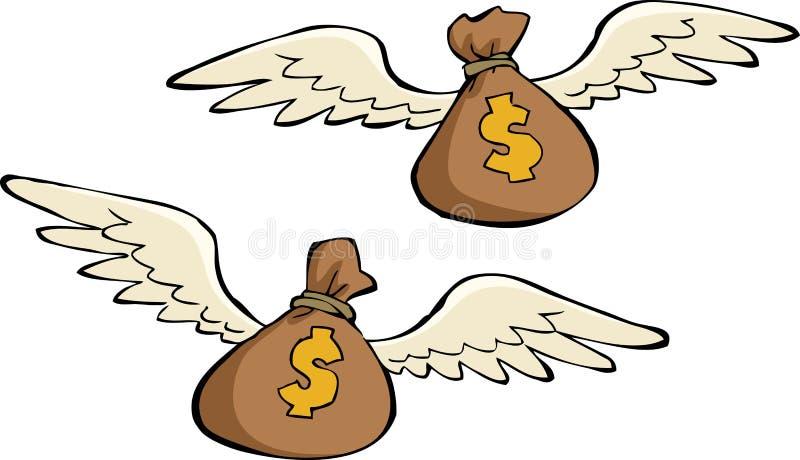 Pengar hänger lös royaltyfri illustrationer
