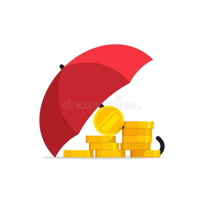 Pengar under paraplyvektorn, begrepp av finansiell försäkring för besparingskydd vektor illustrationer