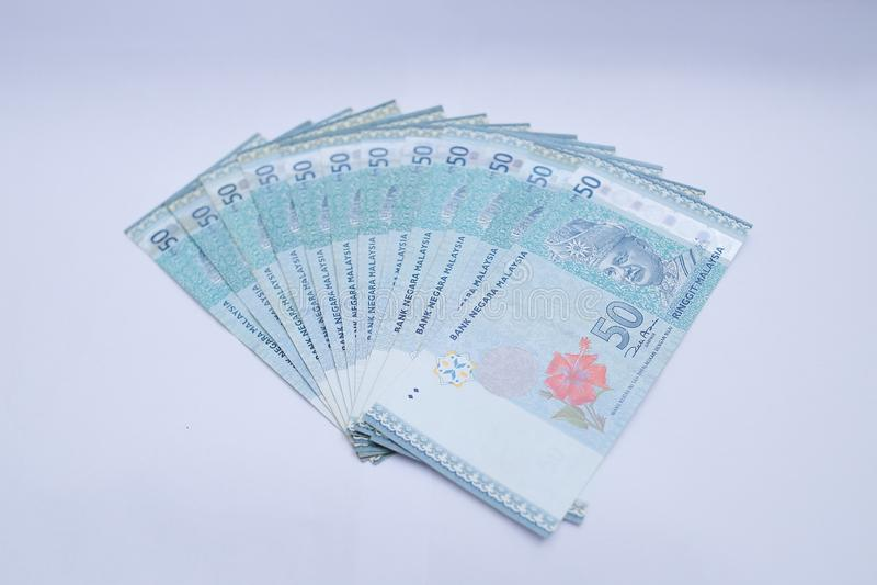 50 pengaranm?rkningar f?r malaysisk ringgit royaltyfri bild