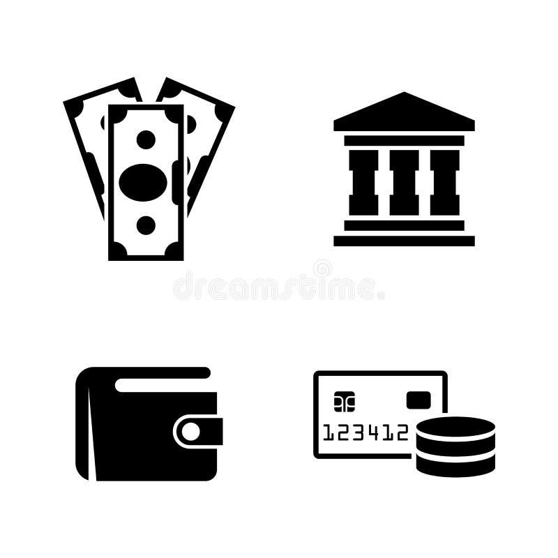 Pengarbankrörelsen Enkla släkta vektorsymboler royaltyfri illustrationer