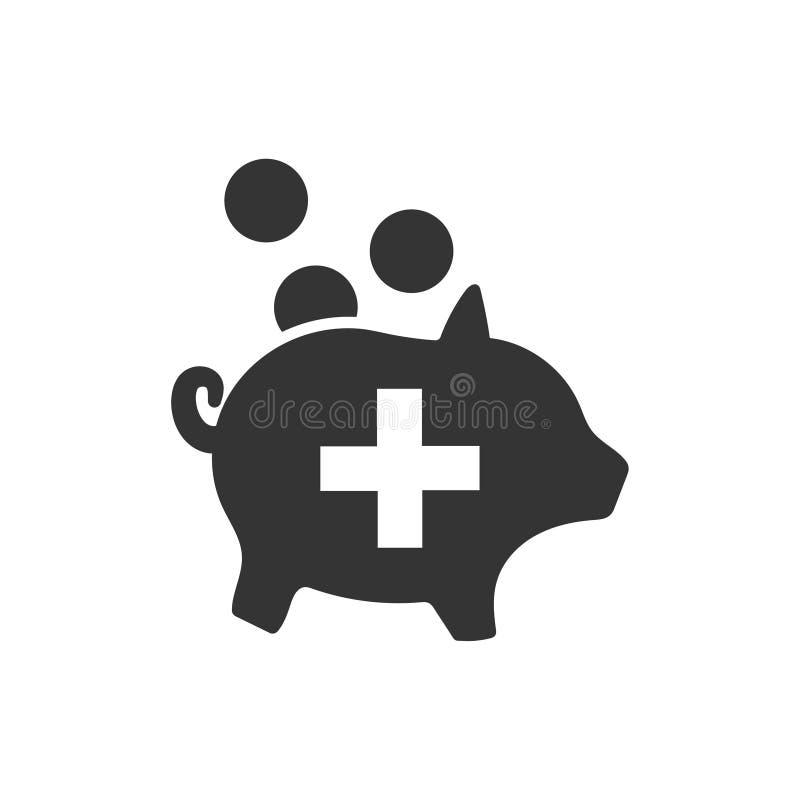 Pengarbesparing för symbol för medicinsk försäkring royaltyfri illustrationer